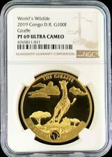 2019 GOLD CONGO 100 FRANCS GIRAFFE 1000 MINTED WILDLIFE NGC PROOF 69 ULTRA CAM
