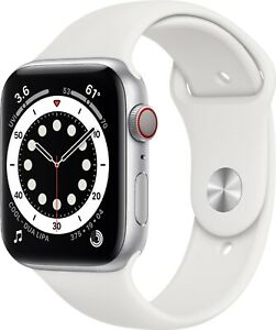 Apple Watch Series 6 44mm Aluminum GPS + Cellular White Sport Band M07F3LL/A