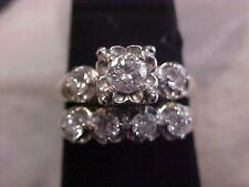 *ANTIQUE*ART DECO*2-RING MATCHING .74ctw DIAMOND WEDDING SET 14K WHITE GOLD s5.5