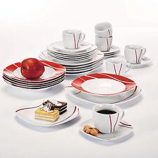 30-Piece Red Stripes Porcelain Dinner Set Cups Saucers Dessert Side Soup Plates