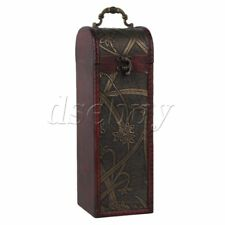 Rectangle Wood Wine Box for Single Bottle Wine Holder Retro Daffodil Pattern