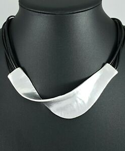Modern QUIRKY Black Cords Silver Chunky ARTY Abstract Swirl Lagenlook Necklace