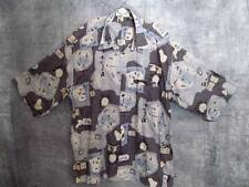 St. Croix Abstract Shirt XL Button Front S/Slvs Blue Black Gray Dressy Casual