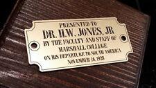CUSTOM PROFESSOR H.W. JONES, JR COMPASS BOX PRESENTATION PLATE INDIANA JONES
