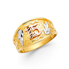 Women 14k Yellow 3 Tone Gold Leaf Sweet 15 Girl Leaves Right Promise Ring Band