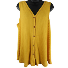 Wonderly Yellow Sleeveless Button Down Top Women's Size XL