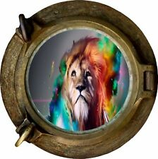Huge 3D Porthole Fantasty Lion View Wall Stickers Film Mural Decal 374