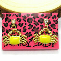 New Betsey Johnson Yellow Enamel Cute Fish Crab Crystal Women Stud Earrings Gift