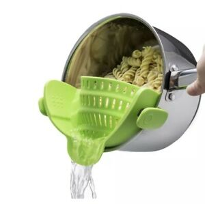 Clip on strainer BPA free. Pasta Snap And Go!