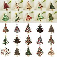 2020 Christmas Tree Crystal Brooch Pin Costume Women Men Xmas Party Jewellery