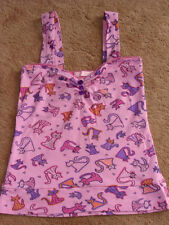 HANDMADE DIY ONE OFF MEOW KIKI CATS KITTENS HEARTS PINK TOP SIZE S UK 6 8 10