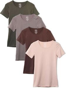 Kalon Women's 4-Pack Scoop Neck T-Shirt Base Layer