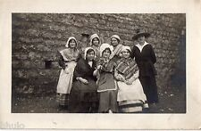 BM215 Carte Photo vintage card RPPC Groupe déguisement folklore theâtre