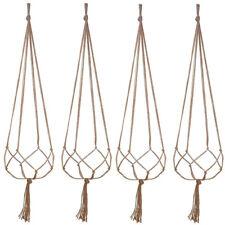 AU 4pcs Macrame Rope Plant Hanger Basket Flower Pot Hanging Holder Garden Decor