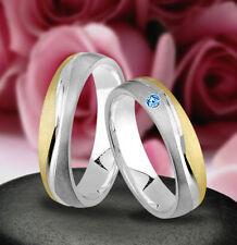 Trauringe  Eheringe Verlobungsringe mit echten Blautopas , Silber 925 , J124-1B