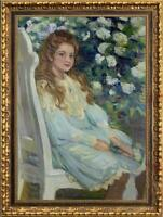 """Hand painted Old Master-Art Antique Oil Painting girl chair on canvas 24""""x36"""""""