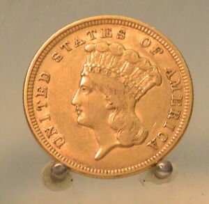 1854 Indian Princess $3 Three Dollar United States Gold Coin. NICE DETAILS!!!!