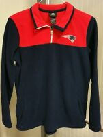 New England Patriots Fleece Jacket Youth XL 18-20 1/4 Zip Sewn Pullover Blue Red