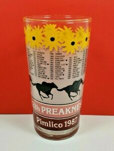 1987 Preakness Stakes 112th Pimlico Souvenir Glass Triple Crown Horse Racing