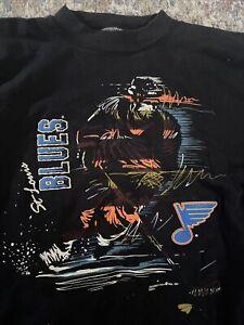Vtg St. Louis Blues Sweatshirt Mens L/XL VINTAGE NHL 90's rare Neon Hockey