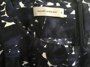 Rene Lezard Seidenkleid blau weiss Edel 💖💕 Gr 34 XS