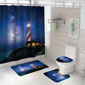 Lighthouse Shower Curtain Bathroom Rug Set Bath Mat Non-Slip Toilet Lid Cover