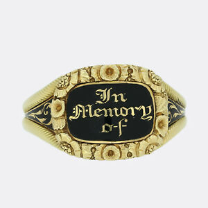 Gold Band Ring - Victorian 'In Memory of' Enamel Mourning Ring 18ct Gold