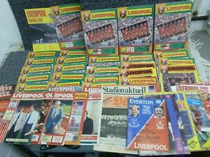 Collection of appr 40 Liverpool FC Anfield Review Mags & Match Programmes 1980's