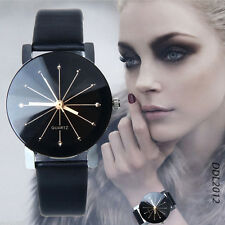 Fashion Womens Leather Stainless Steel Date Dress Quartz Analog Dial Wrist Watch