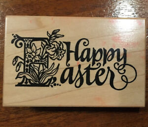 PSX Wood Mounted Rubber Stamp Easter Greeting Sentiment Daffodil Spring Flowers
