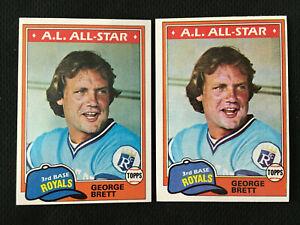 GEORGE BRETT 1981 TOPPS KANSAS CITY ROYALS LOT (2) BASEBALL CARDS