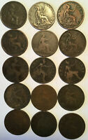 15 Misc. Great Britain Queen Victoria Pennies
