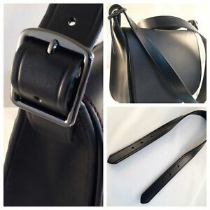 2 Pieces Leather Replacement Handles Purses Straps Black Handbag Strap with Swivel Lobster Buckles 15.7 Inches AUEAR