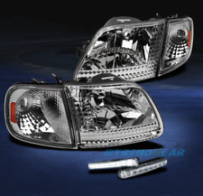1997-2003 FORD F150/1997-2002 EXPEDITION CHROME/AMBER CRYSTAL HEAD LIGHT+DRL LED