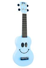 Mahalo U60SMLBU Art Series Soprano Ukulele smiley Face Design with Bag - Blue