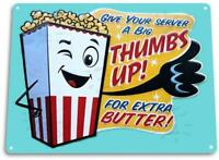 """Thumbs up Popcorn"" Metal Decor Wall Art Theater Kitchen Store Bar"