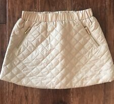 JANIE AND JACK Girls DERBY DARLING Tan Quilted Skirt EUC Size 4