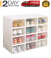Clear Plastic 12 Pack Drop Front Stackable Storage Shoe Box White