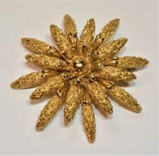 Signed MONET Goldtone Textured FLOWER Shape Pin Brooch