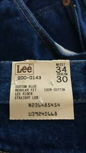 Vintage Lee Rider Jeans Mens 34 X 30 Straight Leg Made In USA Blue Denim NEW
