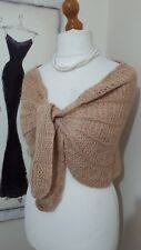 VINTAGE  STYLE SHURG CAPE SHAWL WRAP HAND KNITTED WEDDING BRIDESMAID BEIGE