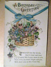 1917 Used Greetings Postcard- A BIRTHDAY GREETING + STAMP