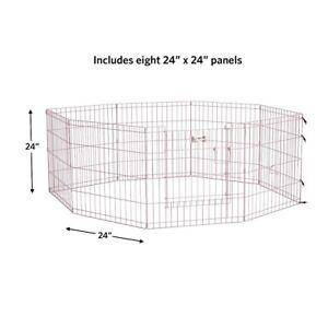 Folding Metal Exercise Pen Pink with Door 24″W x 24″H, Exercise Pen / Playpen
