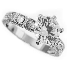 Clear CZ Stones Silver Rhodium EP Ladies Engagement Ring 1.97ctw Size 10