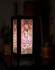 Asian Vintage Style Paper Bedside Table Lamp Decor: Dvarapala Screen Print