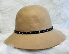 MAGID HATS Felt Cloche Downturn Brim Hats Camel Studded Embellished Leather EUC
