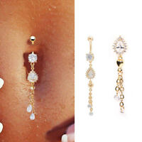 1Pcs Long Tassel Water Drop Crystal Belly Button Body Piercing Jewelry For Women