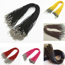 "5/10/50/100 Pack Braided Twisted Rope PU Leather Cord Chain Necklace 18"" Unisex"