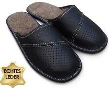 Herren LEDER Hausschuhe Pantoffeln Latschen Schwarz mit Lammwolle Gr.40 - 48
