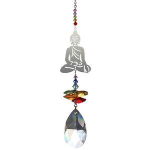 Buddha Crystal rainbow maker chakra window hanging suncatcher gift